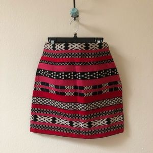 [zara] hot pink red black embroidered mini skirt